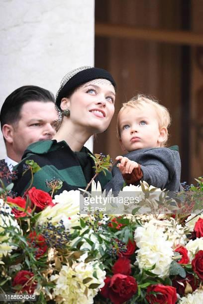 Beatrice Borromeo and Francesco Casiraghi attend the Monaco National Day Celebrations on November 19 2019 in MonteCarlo Monaco