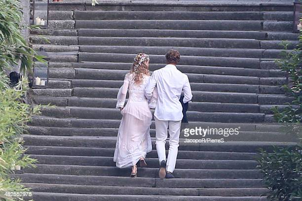 Beatrice Borromeo and Pierre Casiraghi are seen arriving at Wedding Welcome Party on July 31 2015 in ISOLA MADRE Italy