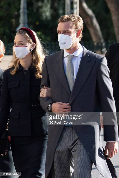 Beatrice Borromeo and Pierre Casiraghi arrive at the Monaco cathedral to attend a mass during the Monaco National day celebrations on November 19,...