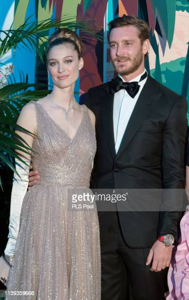 Beatrice Borromeo and Pierre Casiraghi attend the Rose Ball 2019 to benefit the Princess Grace Foundation on March 30 2019 in Monaco Monaco