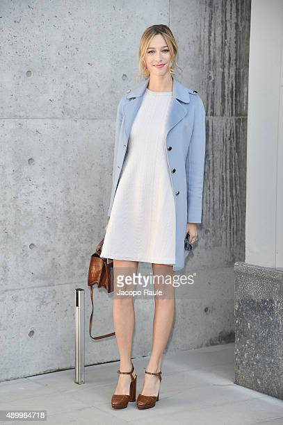 Beatrice Borromeo arrives at the Emporio Armani show during the Milan Fashion Week Spring/Summer 2016 on September 25 2015 in Milan Italy