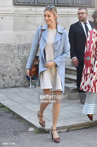 Beatrice Borromeo arrives at the Giamba show during the Milan Fashion Week Spring/Summer 2016 on September 25 2015 in Milan Italy