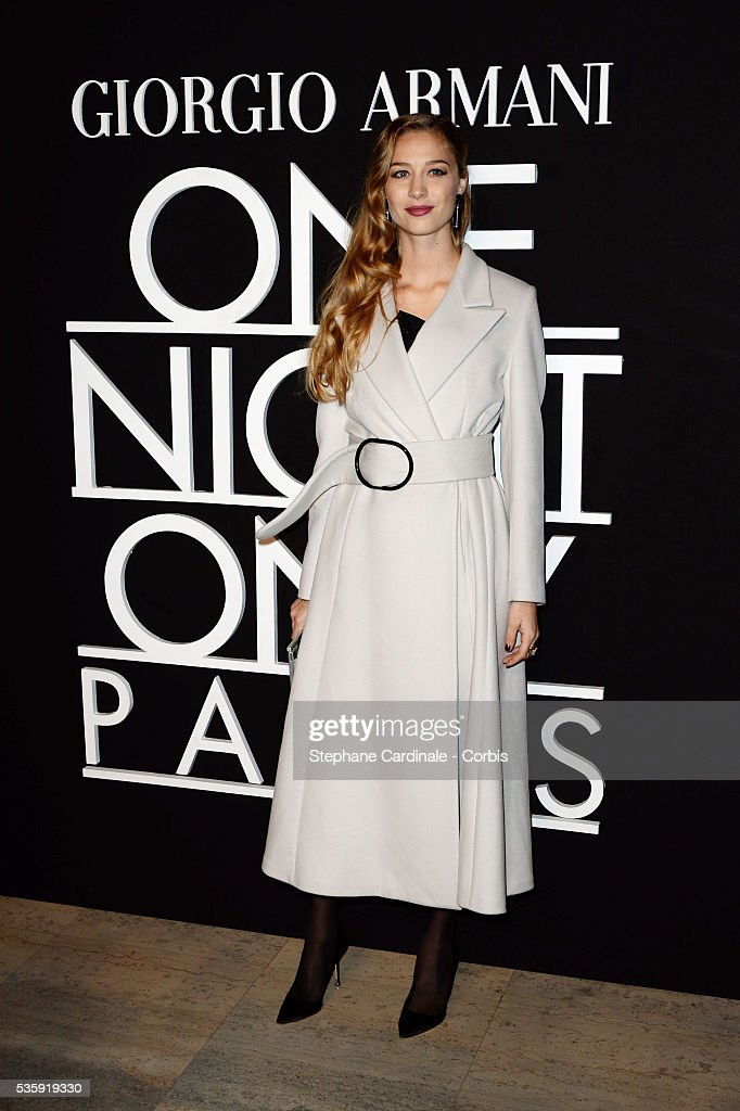 Beatrice Borromeo attends the Giorgio Armani Prive show as part of Paris Fashion Week Haute Couture Spring/Summer 2014, at Palais de tokyo in Paris.