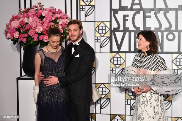 Beatrice Borromeo Pierre Casiraghi and Princess Caroline of Hanover attend the Rose Ball 2017 To Benefit The Princess Grace Foundation at Sporting...