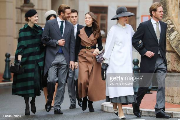 Beatrice Borromeo, Pierre Casiraghi, Louis Ducruet, Princess Alexandra of Hanover, Tatiana Santo Domingo and Andrea Casiraghi arrive to attend a mass...