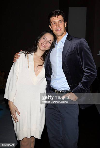 Beatrice Carbone and Roberto Bolle attend the Salvatore Ferragamo show as part of Milan Fashion Week Autumn/Winter 2009 Menswear on January 18, 2009...
