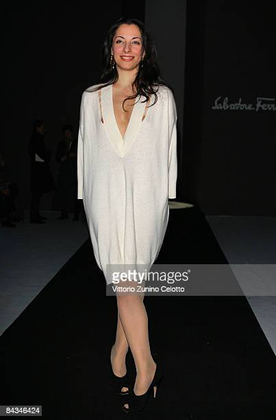 Beatrice Carbone attends the Salvatore Ferragamo show as part of Milan Fashion Week Autumn/Winter 2009 Menswear on January 18, 2009 in Milan, Italy.