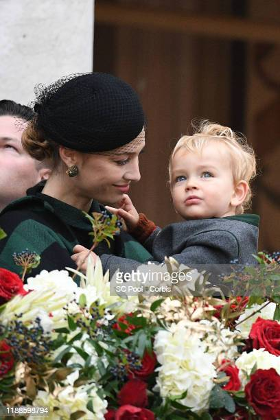 Beatrice Casiraghi and her son Francesco attends the celebrations marking Monaco's National Day at the Monaco Palace in Monaco, 19 November 2019.