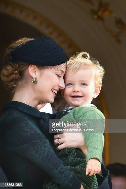 Beatrice Casiraghi and her son Francesco pose at the Palace balcony during the Monaco National Day Celebrations on November 19, 2019 in Monte-Carlo,...