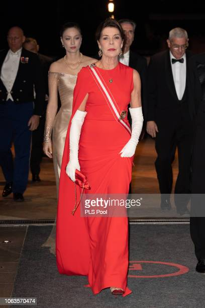 Beatrice Casiraghi and Princess Caroline of Hanover attend a Gala during Monaco National Day on November 19, 2018 in Monte-Carlo, Monaco.