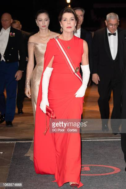 Beatrice Casiraghi and Princess Caroline of Hanover attend a Gala during Monaco National Day on November 19 2018 in MonteCarlo Monaco