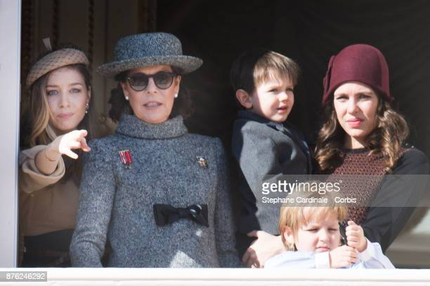 Beatrice Casiraghi Princess Caroline of Hanover Charlotte Casiraghi and her son Raphael and Sacha Casiraghi greet the crowd from the palace's balcony...
