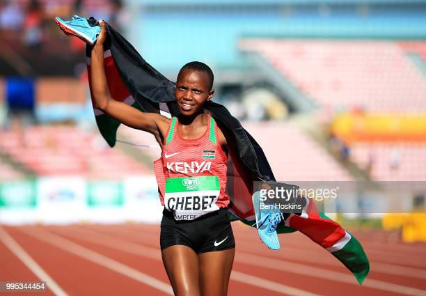Beatrice Chebet of Kenya celebrates after winning the women's 5000m final during day one of The IAAF World U20 Championships on July 10, 2018 in...