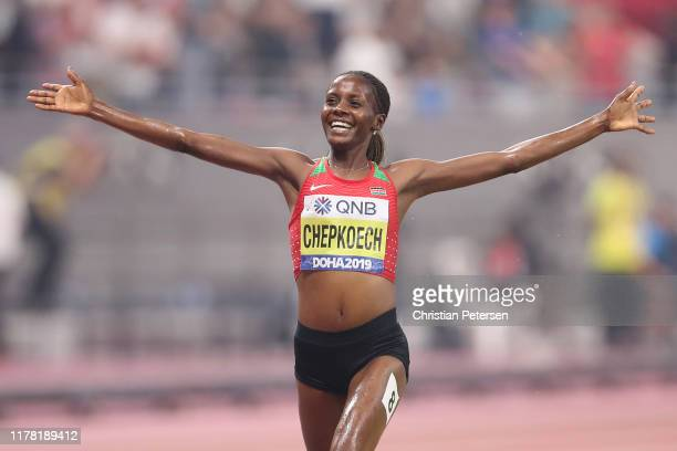 Beatrice Chepkoech of Kenya celebrates winning gold in the Women's 3000 metres Steeplechase final during day four of 17th IAAF World Athletics...