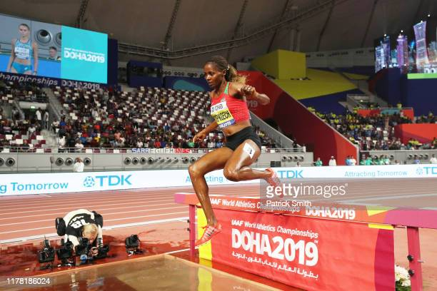 Beatrice Chepkoech of Kenya competes in the Women's 3000 metres Steeplechase final during day four of 17th IAAF World Athletics Championships Doha...