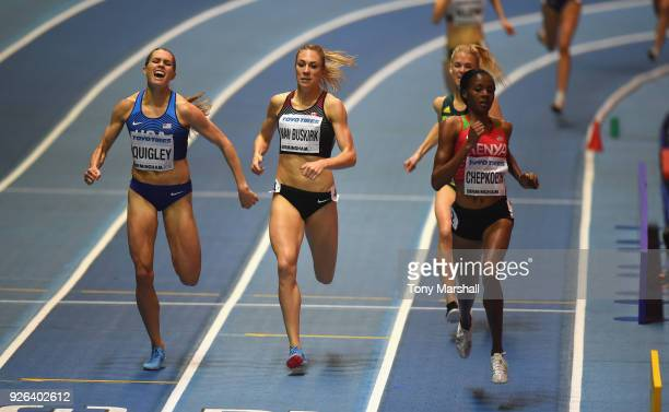 Beatrice Chepkoech of Kenya wins her Women's 800m heat from Kate Van Buskirk of Canada and Colleen Quigley of the United States during Day Two of the...