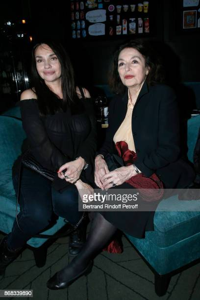 Beatrice Dalle and Anouk Aimee attend Claude Lelouch celebrates his 80th Birthday at Restaurant Victoria on October 30 2017 in Paris France