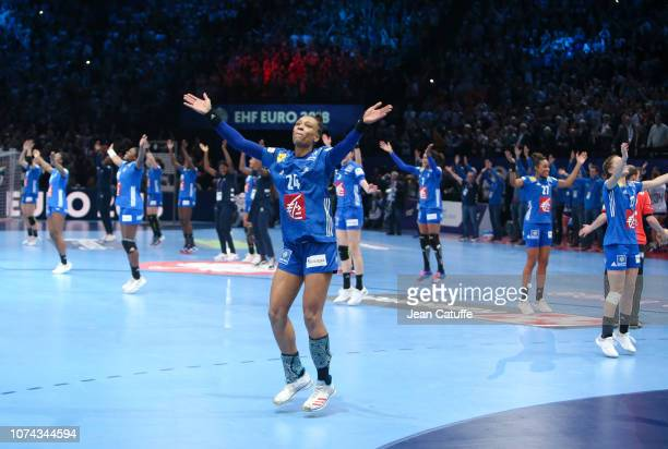 Beatrice Edwige of France and teammates celebrate winning the EHF Women's Euro 2018 Final match between Russia and France at AccorHotels Arena on...