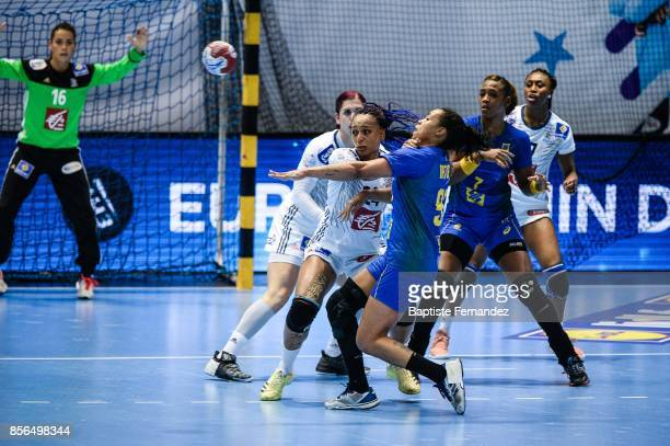 Beatrice Edwige of France defend on Patricia Silva of Brazil during the handball women's international friendly match between France and Brazil on...
