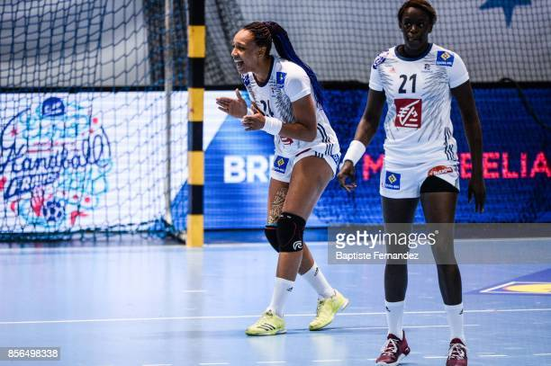 Beatrice Edwige of France react during the handball women's international friendly match between France and Brazil on October 1 2017 in...