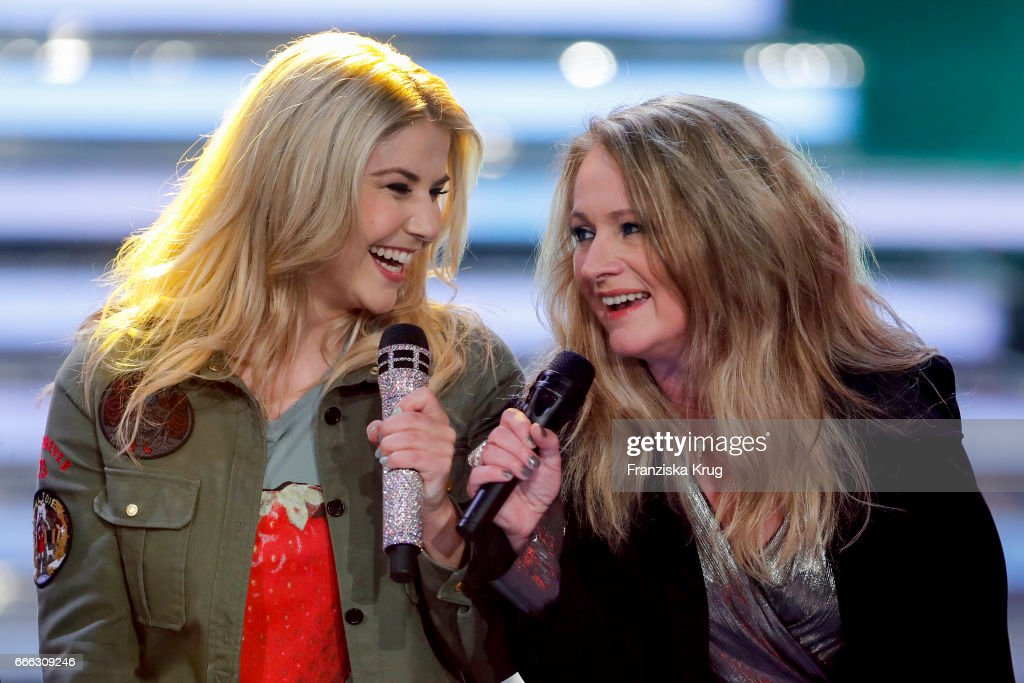 Beatrice Egil and Nicole during the television show 'Willkommen bei Carmen Nebel' on April 8, 2017 in Magdeburg, Germany.