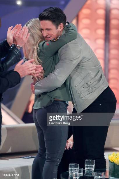 Beatrice Egli and Matthias Steinerduring the television show 'Willkommen bei Carmen Nebel' on April 8 2017 in Magdeburg Germany