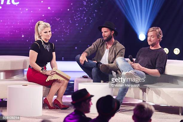 Beatrice Egli and Niila feat Samu Harber performe on stage during the taping of the tv show 'Beatrice Egli Die grosse Show der Traeume' on May 20...