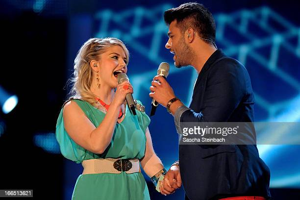 Beatrice Egli and Ricardo Bielecki perform during the rehearsal of the fifth 'Deutschland Sucht Den Superstar' Show at Coloneum on April 13 2013 in...