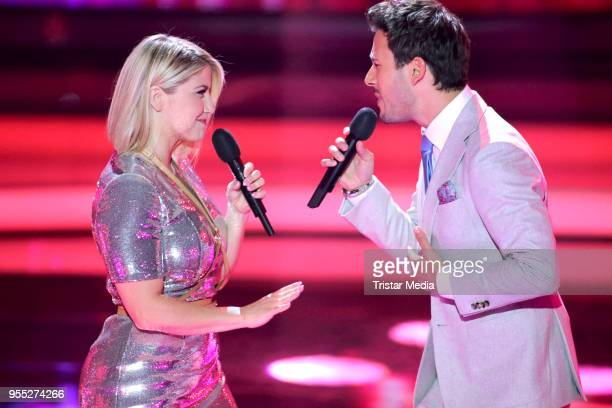 Beatrice Egli and Yannick Bovy during the tv show 'Willkommen bei Carmen Nebel' at SachsenArena on May 5 2018 in Riesa Germany