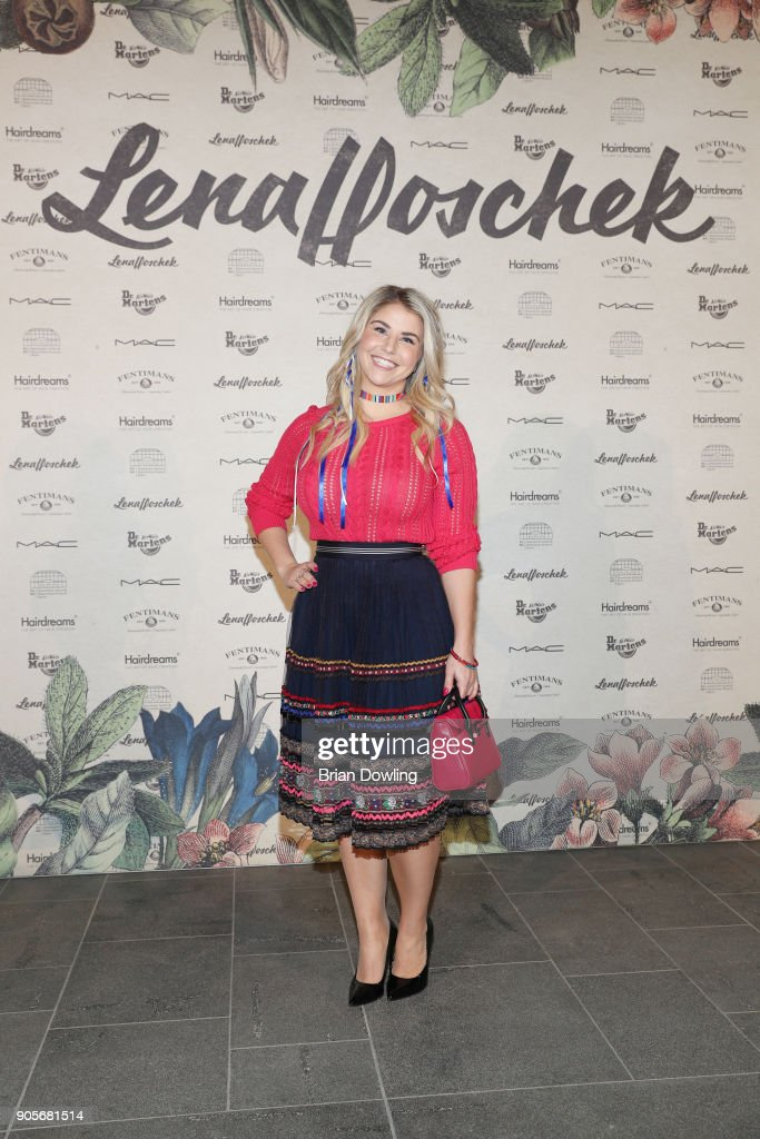 Beatrice Egli attends the Lena Hoschek Fashion Show Berlin at Botanischer Garten on January 16, 2018 in Berlin, Germany.