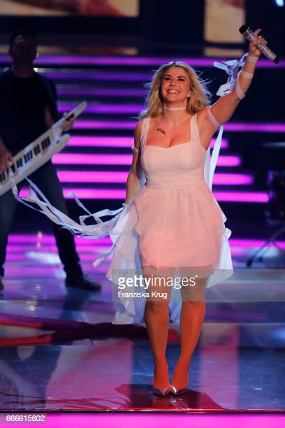 Beatrice Egli during the television show 'Willkommen bei Carmen Nebel' on April 8 2017 in Magdeburg Germany
