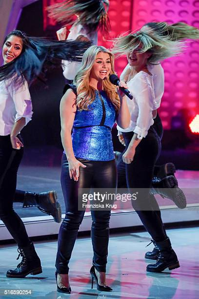 Beatrice Egli performs at the TV show 'Willkommen bei Carmen Nebel' on March 19 2016 in Magdeburg Germany