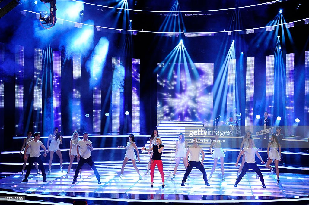 Beatrice Egli performs during the national tv show 'Willkommen bei Carmen Nebel' at TUI Arena on March 28, 2015 in Hanover, Germany.