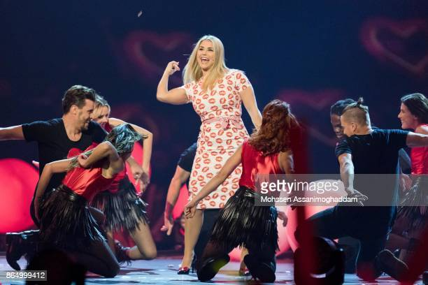 Beatrice Egli performs during the show 'Das Internationale Schlagerfest' at Westfalenhalle on October 21 2017 in Dortmund Germany