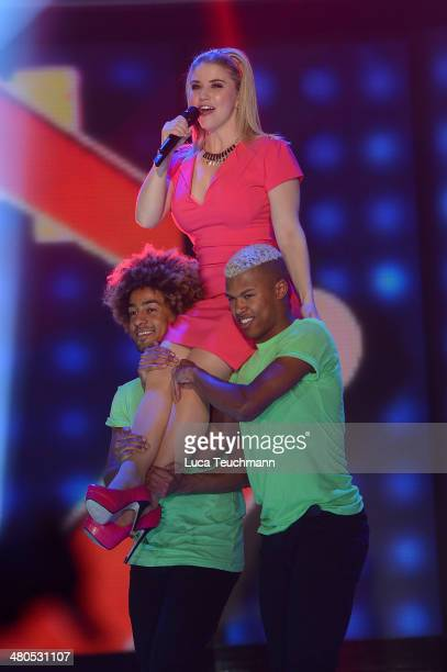 Beatrice Egli performs during the taping of 'Stefanie Hertel Die grosse Show der Stars' Show at Jahrhunderthalle on March 25 2014 in Leuna Germany