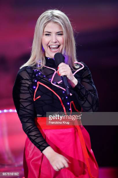 Beatrice Egli performs during the tv show 'Willkommen bei Carmen Nebel' on March 24 2018 in Hof Germany The show will be aired on March 24 2018