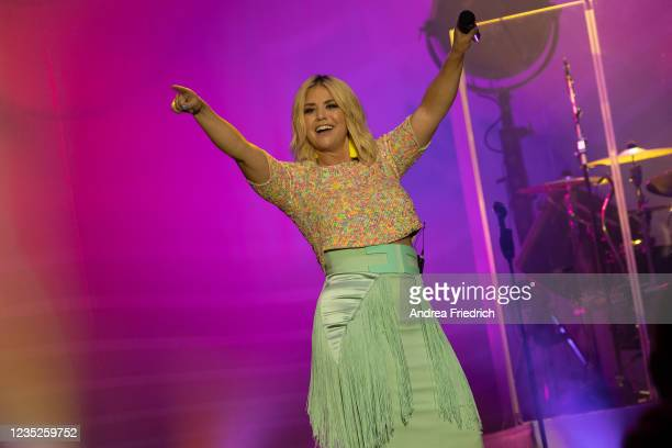 Beatrice Egli performs live on stage during a concert at the Tempodrom on September 14, 2021 in Berlin, Germany.