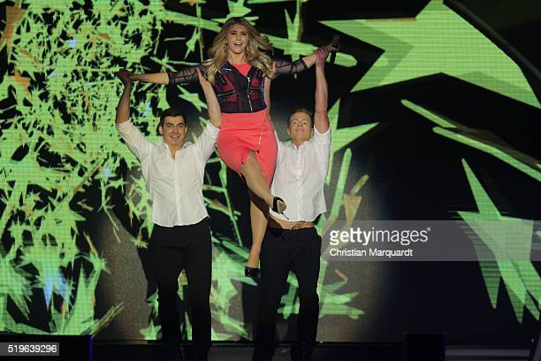 Beatrice Egli performs on stage during the tv show 'Willkommen bei Carmen Nebel' at Tempodrom on April 7 2016 in Berlin Germany