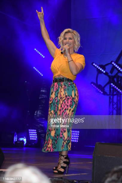 Beatrice Egli performs the Schlagerolymp Open Air Festival at Freizeit und Erholungspark Luebars on August 10 2019 in Berlin Germany