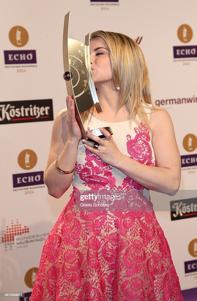 Beatrice Egli poses at the Echo award 2014 winners board at Messe Berlin on March 27, 2014 in Berlin, Germany.