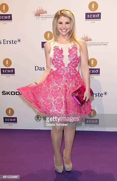 Beatrice Egli poses on the red carpet prior the Echo award 2014 at Messe Berlin on March 27 2014 in Berlin Germany