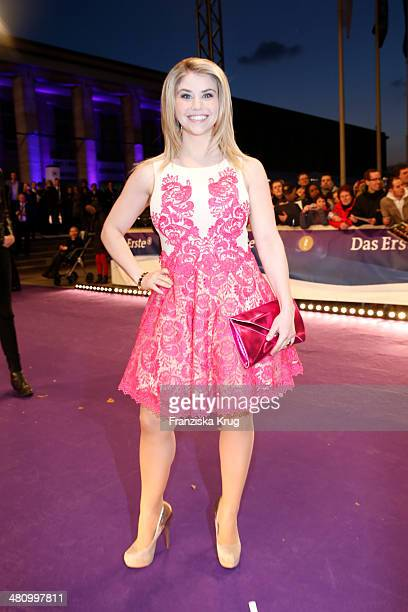 Beatrice Egli poses on the red carpet prior the Echo award 2014 on March 27 2014 in Berlin Germany