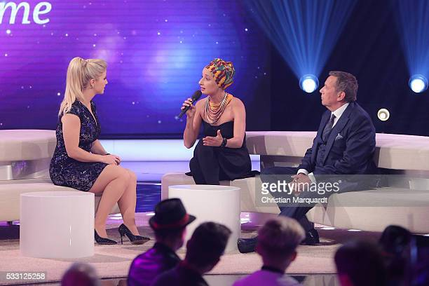 Beatrice Egli Roland Kaiser and Deenas perform on stage during the taping of the tv show 'Beatrice Egli Die grosse Show der Traeume' on May 20 2016...