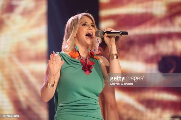 Beatrice Egli sings on stage at the 7th Show Rehearsal of 'Deutschland sucht den Superstar' on April 27 2013 in Cologne Germany