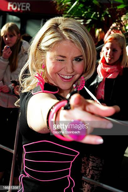 Beatrice Egli walks on the red carpet after the rehearsal of the fifth 'Deutschland Sucht Den Superstar' Show at Coloneum on April 13 2013 in Cologne...