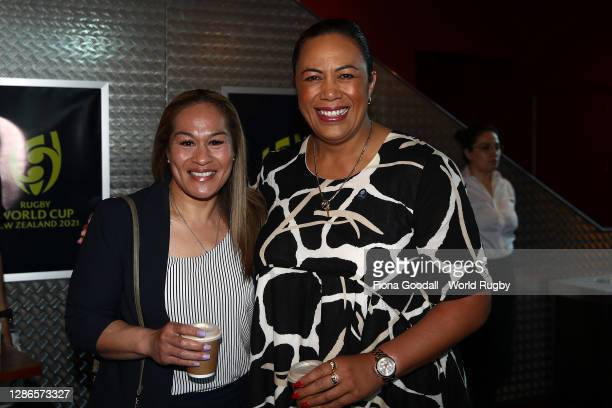 Beatrice Faumuina and Fiao'o Faamausili pose for a photograph during the Rugby World Cup 2021 Draw event at the SKYCITY Theatre on November 20, 2020...