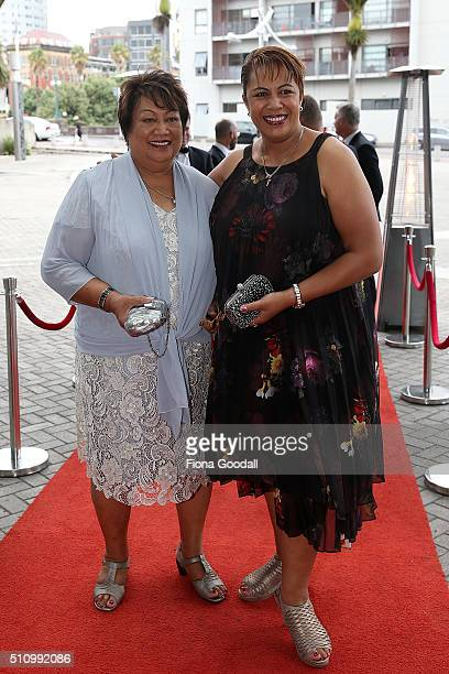 Beatrice Faumuina and her mother arrive at the 2016 Halberg Awards at Vector Arena on February 18 2016 in Auckland New Zealand