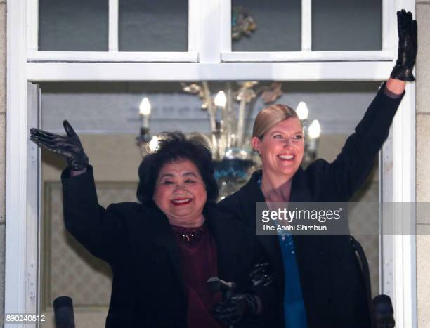 Beatrice Fihn Executive Director International Campaign to Abolish Nuclear Weapons and Setsuko Thurlow wave prior to the dinner at the Grand Hotel...