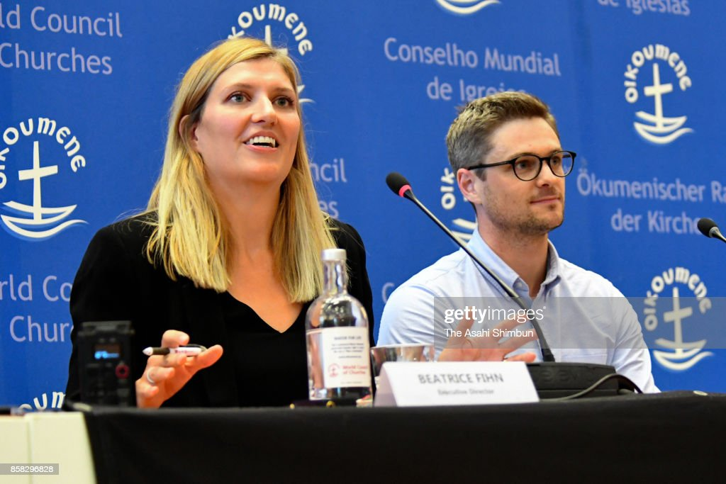Beatrice Fihn (L), executive director of the International Campaign to Abolish Nuclear Weapons (ICAN) speaks during a press conference after the Nobel Peace Prize is announced on October 6, 2017 in Geneva, Switzerland. Focusing on the inhumane nature of nuclear weapons, ICAN, established in 2007, has sought to make illegal all forms of nuclear weapons.