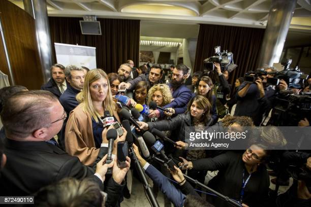 Beatrice Fihn Executive Director of the International Campaign to Abolish Nuclear Weapons and Nobel Peace laureate speaks to media after the...